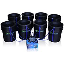 (DWC) Hydroponic Bubbler 8 Bucket Kit with 10 inches Lids