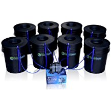 Deep Water Culture (DWC) Hydroponic Bubbler 8 Bucket Kit with 6 inches Lids