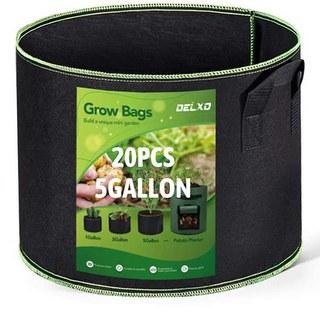 Delxo 5 Gallon Grow Bags Heavy Duty Aeration Fabric Pots